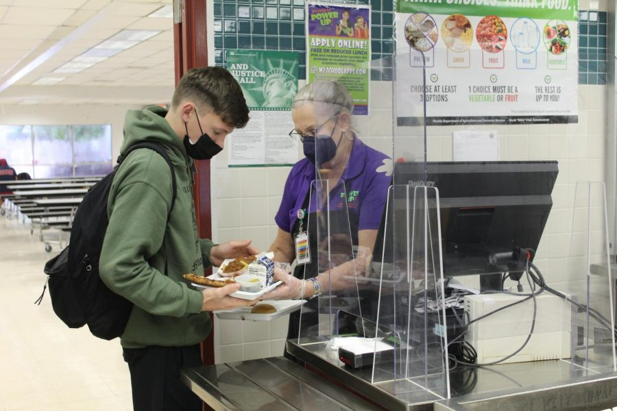 During B lunch, the cafeteria staff hands out lunches to hungry students at MSD. Behind the scenes, lunch ladies have the important job of serving food.