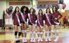 The seniors of the MSD womens varsity volleyball team take a photo together before their senior night game. The event commemorates their years of service to the volleyball team.